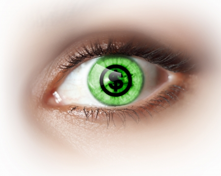Close-up image of woman s eye with symbol Stock Photo - 20087993