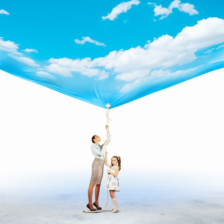 Image of young happy family pulling banner with night illustration Stock Illustration - 20085994