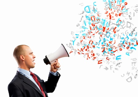 Image of angry businessman screaming in megaphone Stock Photo