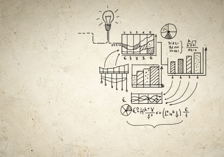 compute: Business background image with drawn ideas and concepts