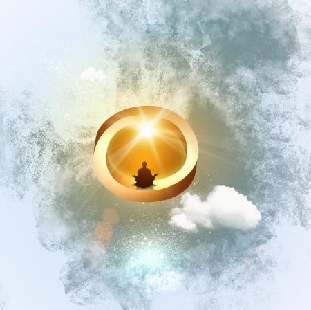 Het silhouetbeeld van mensenzitting in meditatie stelt