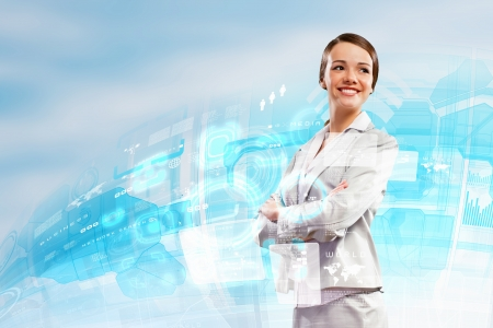Image of attractive businesswoman against hightech background photo