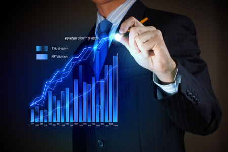future earnings: Closeup image of businessman drawing 3d graphics
