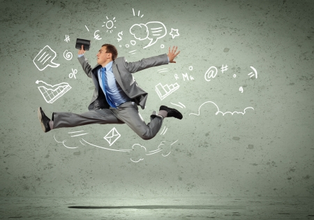 Image of jumping young businessman  Business collage photo