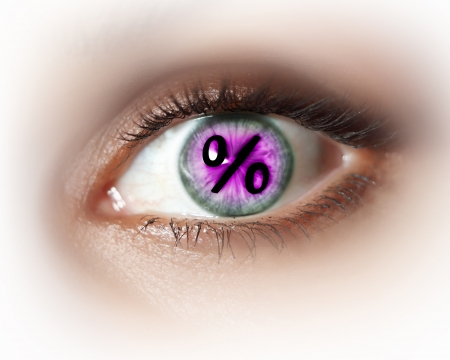 Close-up image of woman s eye with symbol photo