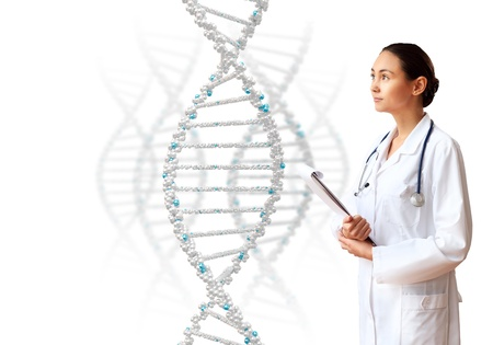 thymine: Image of DNA strand against colour background