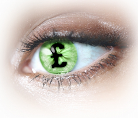 Close-up image of woman s eye with symbol Stock Photo - 20207707