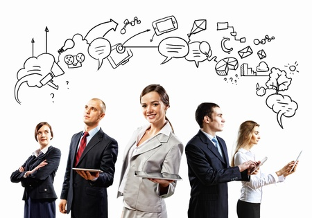 group communication: Image of young businesspeople team  Collage background Stock Photo