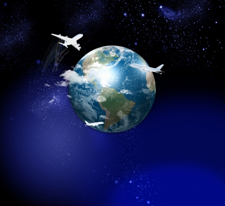 Image of globe with flying airplanes around photo