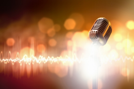 metal music: Let s sing  Stylish retro microphone on a colored background