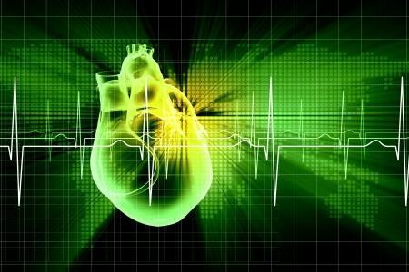 Virtueel beeld van het menselijk hart met cardiogram