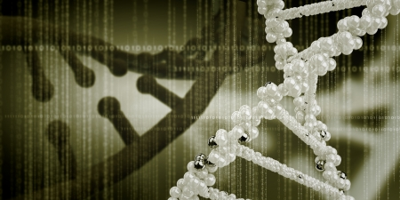 DNA molecule is located in front of a colored background  abstract collage Stock Photo - 20326617