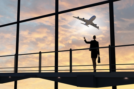 aircraft take off: Image of businesswoman at airport looking at airplane taking off