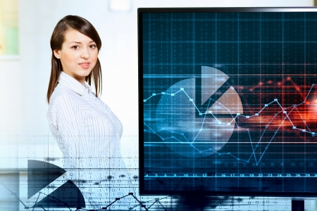 Image of young woman making presentation on screen Stock Photo - 20327251