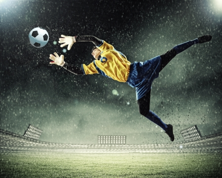 football goal: Goalkeeper catches the ball   At the stadium, in the spotlight