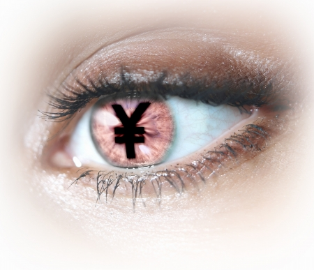 Close-up image of woman s eye with symbol Stock Photo - 20326813