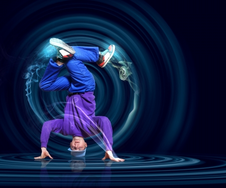 hand on hip: Modern style dancer posing against dark background with light effects  Illustration