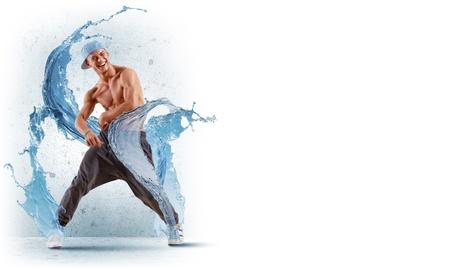 stílus: fiatal férfi egy kék színű tánc hip hop - kollázs