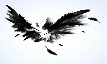 Abstrakcyjny obraz z czarnymi skrzydłami na tle jasnym tle