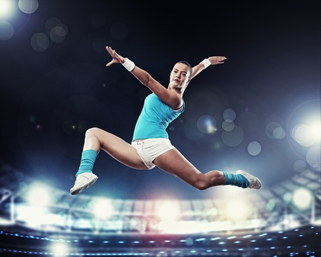 Image of young attractive sport woman exercising photo