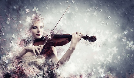 Image of gorgeous woman playing violin against colorful background photo
