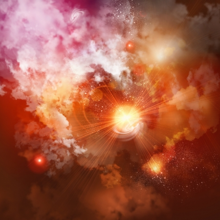 Cosmic clouds of mist on bright colorful backgrounds
