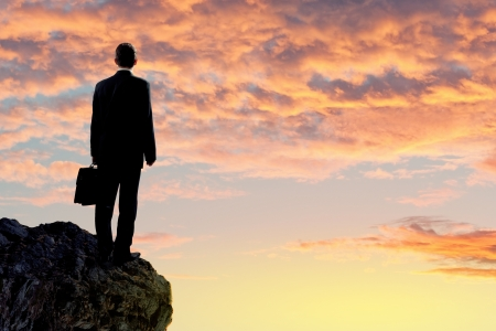 Image of young businessman standing on top of hill photo