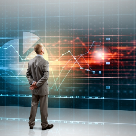 Achteraanzicht beeld van zakenman met armen gekruist achter de rug Stockfoto
