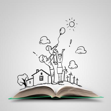 libros abiertos: Imagen de libro abierto con dibujos Collage Foto de archivo