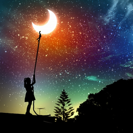 Image of little girl pulling moon against starry night landscape photo