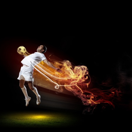 Image of football player in white shirt Stock Photo - 20659581