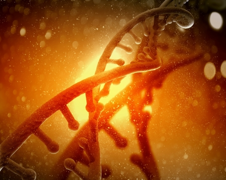 DNA 분자는 컬러 배경 추상 콜라주의 앞쪽에 위치