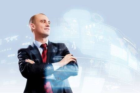 successfulness: Image of confident businessman smiling standing against hightech background