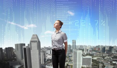 Image of business person with digital symbols photo