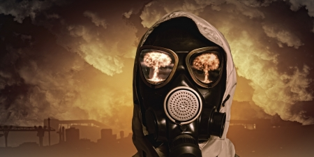 chemical warfare: Image of man in gas mask  Ecology concept Stock Photo
