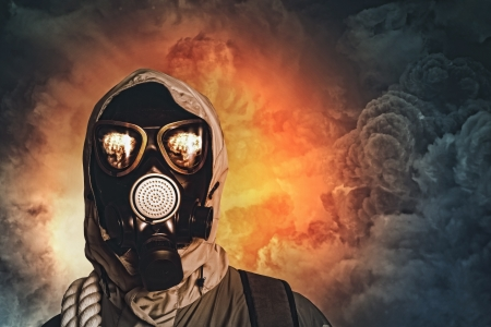 Image of man in gas mask  Ecology concept photo