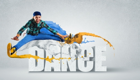 hip hop dance: Modern style dancer jumping and the word Dance  Illustration Stock Photo