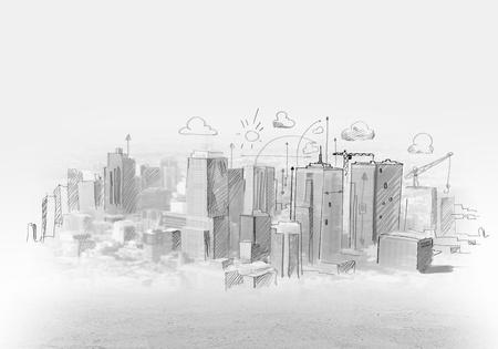 Hand tekening van stedelijke scène Bouw-concept Stockfoto