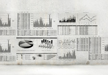 Financial concept image with hand drawn diagrams and graphs photo
