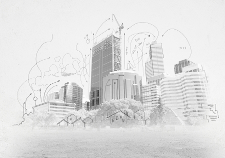 building sketch: Hand drawing of urban scene  Construction concept Stock Photo