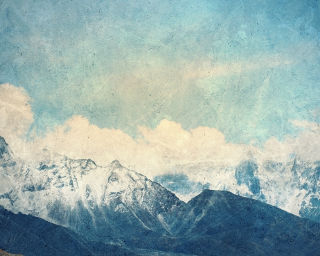 snow mountain: Painting with a snow high mountains landscape Stock Photo