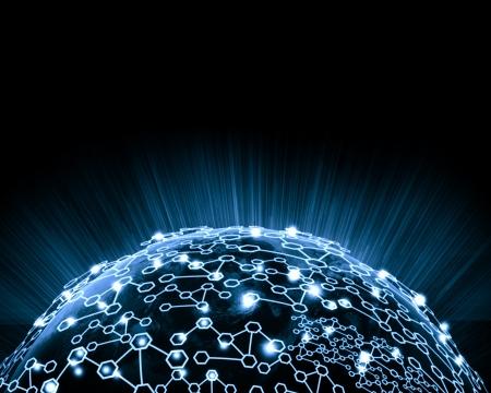 Blue vivid image of globe Globalization concept.