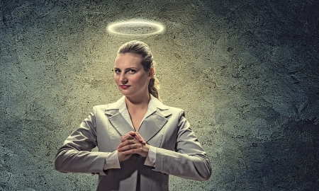 christian women: Image of businesswoman with halo above head