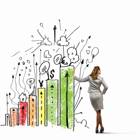 Image of businesswoman leaning on graphs and bars Stock Photo