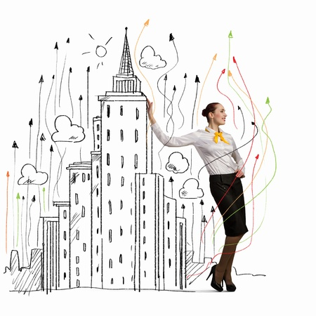 Image of businesswoman leaning on illustration  Construction concept Stock Illustration - 21168666