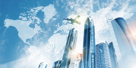 megalopolis: Plane flying above skyscrapers  Business travel concept Stock Photo