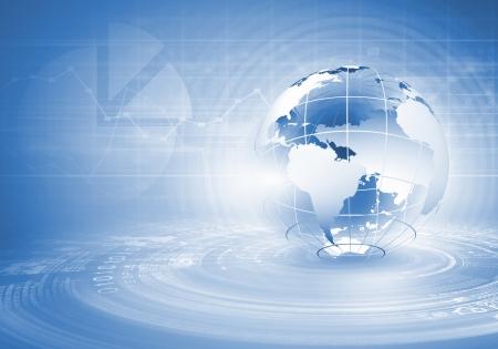 Imagen digital azul con la imagen de fondo del mundo Foto de archivo - 21180292