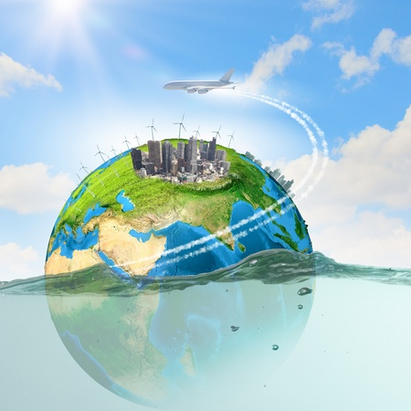 Image of earth planet floating in water  Global warming  photo
