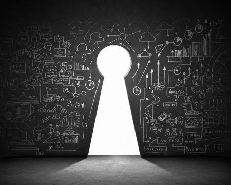 leadership key: Business plan sketch on black wall with key hole