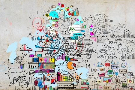 information analysis: Business plan image with collage hand drawings